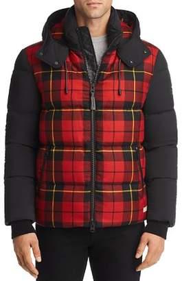 Mackage Rylan Plaid Mixed-Media Hooded Down Jacket