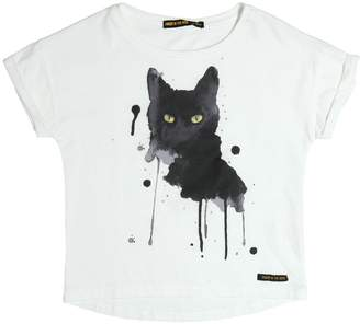 Finger In The Nose Cat Face Printed Cotton Jersey T-Shirt