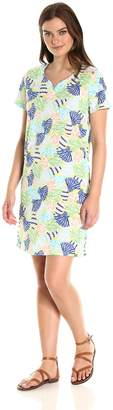 Caribbean Joe Women's Short Sleeve Sweetheart Neckline Printed Cotton Dress