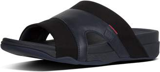 FitFlop Freeway Pool Slides in Leather/Canvas Mix