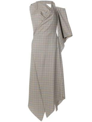 Awake asymmetric long plaid print dress