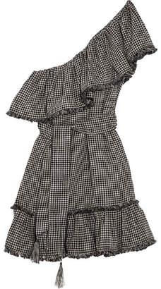 Zimmermann - One-shoulder Gingham Linen And Cotton-blend Mini Dress - Black $595 thestylecure.com
