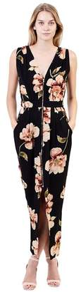 Izabel London Black Floral Print Zip Front Maxi Dress