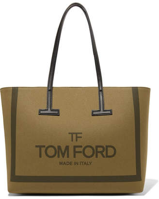 Tom Ford T Medium Leather-trimmed Printed Cotton-canvas Tote - Army green