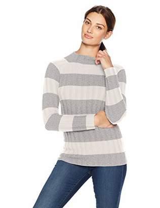 Lark & Ro Women's Sweaters Mock Neck Striped Cashmere Sweater
