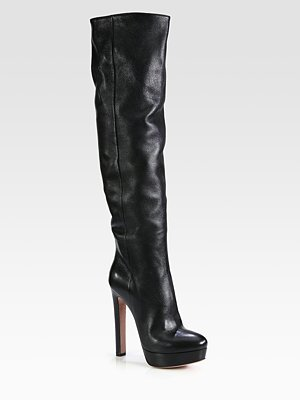 Prada Leather Over-The-Knee Platform Boots