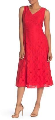 T Tahari Double V Fit & Flare Dress