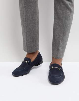 Dune Bar Loafers In Navy Suede