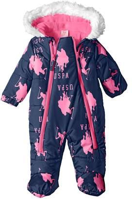 U.S. Polo Assn. Baby Girls' Pearlized Cire Logo Hooded Pram