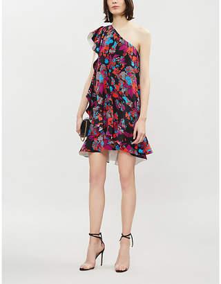 Givenchy Asymmetric floral-print silk-crepe mini dress