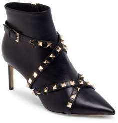 Valentino Stud Wrap Leather Booties