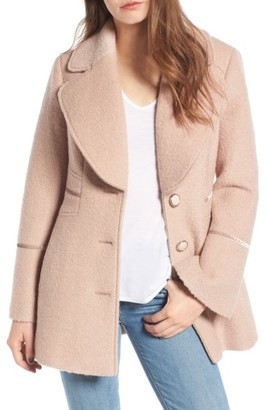 Women's Kensie Velvet Trim Bell Sleeve Coat $168 thestylecure.com