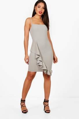 boohoo Square Neck Ruffle Hem Bodycon Dress