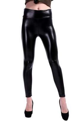 8e3bc61e8b1e SELX Women Faux Leather High Waisted Leggings Stretchy Skinny Leather Pants  US S