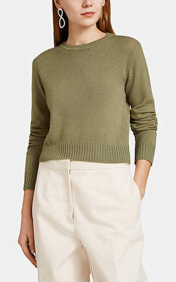 Jil Sander Women's Virgin Wool Crop Sweater - Dk. Green