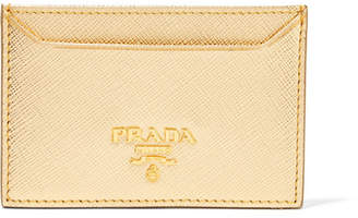 Metallic Textured-leather Cardholder - Gold