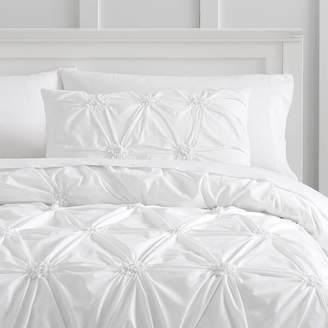 Pottery Barn Teen Organic Ruched Rosette Duvet Cover, Twin/Twin XL, Pale Sky