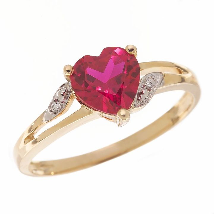 Heart-cut lab-created ruby ring