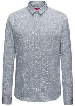 HUGO Boss Paint-Splattered Cotton Shirt, Extra Slim Fit Ero W M Dark Blue