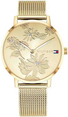 Tommy Hilfiger Gold Floral Watch With Mesh Band