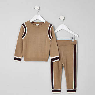 River Island Mini boys brown sweater and joggers outfit