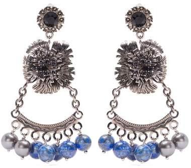 Erdem Bead-embellished flower-drop clip-on earrings