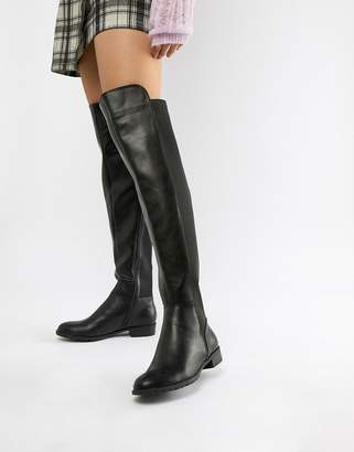 London Rebel Elastic Flat Over Knee Boot