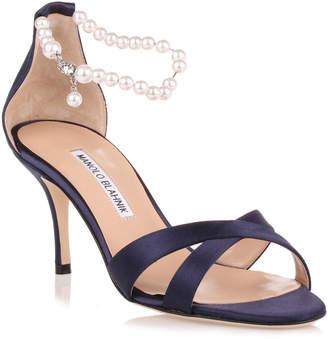 Manolo Blahnik Calla Pearl navy satin sandal