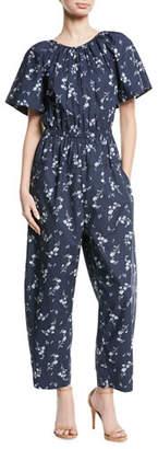 Rebecca Taylor Francine Short-Sleeve Cape-Back Floral-Print Cotton Jumpsuit