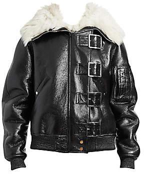 Altuzarra Women's Durham Fur-Collar Buckled Leather Jacket