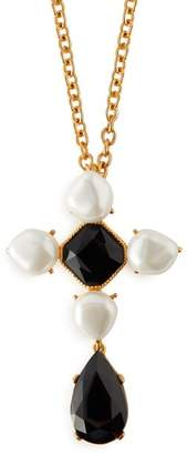 Oscar de la Renta Baroque Faux Pearl And Crystal Brooch Necklace - Womens - Black