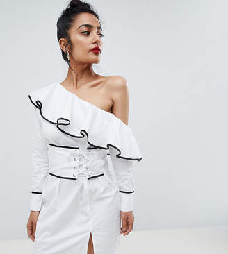 Missguided Petite One Shoulder Corset Dress