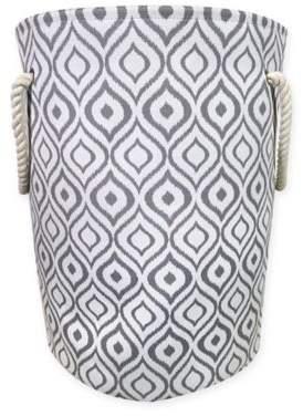 Ikat Canvas Fabric Hamper in Grey/White