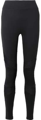 Moto All Access - Debut Mesh-paneled Stretch Leggings - Black