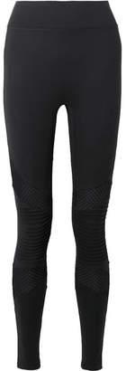 All Access - Debut Moto Mesh-paneled Stretch Leggings - Black