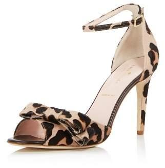 Kate Spade Women's Ismay Leopard Print Calf Hair High-Heel Bow Sandals
