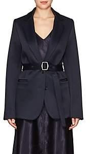 Sies Marjan Women's Belted Wool-Blend Satin Two-Button Blazer-Dark Navy