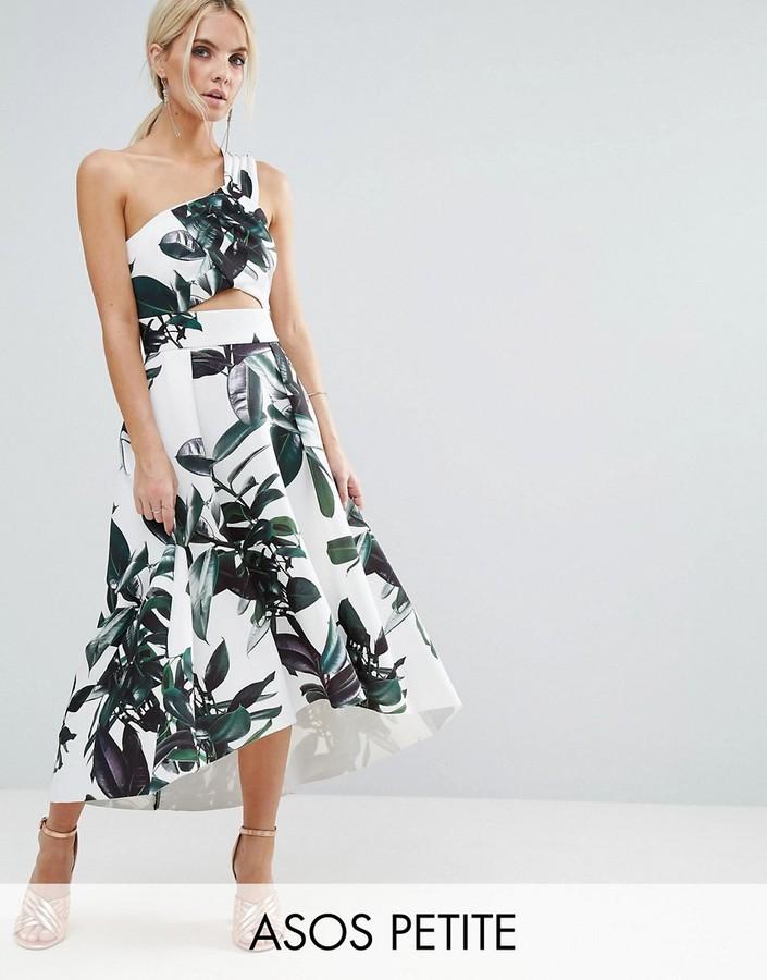 AsosASOS Petite ASOS PETITE Palm Print One Shoulder Scuba Dip Back Prom Dress