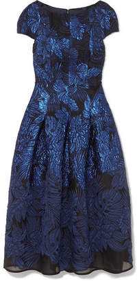 Talbot Runhof Mikado Pleated Metallic Cloqué And Organza Midi Dress - Blue