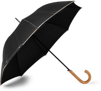 Walker Stripe-Trimmed Wood-Handle Umbrella