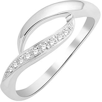 Miore Knot Ring Necklace 9 ct White Gold Diamond 0.05 Carat, T54-MKW9003R4