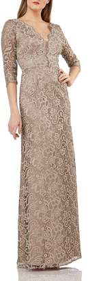 JS Collections Lace Evening Dress