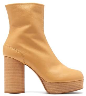 Maison Margiela Tabi Platform Split Toe Leather Ankle Boots - Womens - Tan