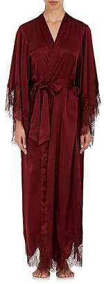 Raven & Sparrow by Stephanie Seymour Women's Margaret Lace-Trimmed Silk Kimono Robe