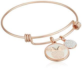 Disney Women's Rose Gold-Tone Stainless Steel Adjustable Bangle Bracelet with Plated Minnie Love and Kisses White Enamel Charm
