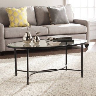Southern Enterprises Quibilah Metal/Glass Oval Coffee Table