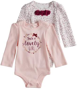 """Baby Starters Baby Girl 2-pack """"Such A Lovely Girl"""" Graphic & Floral Bodysuits"""