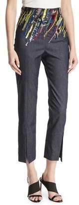 Cushnie et Ochs High-Waist Straight-Leg Denim Crop Pants w/ Sequins