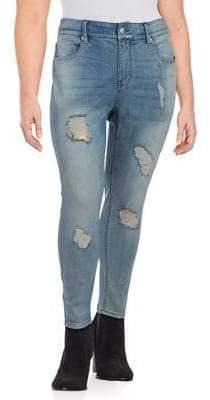 Seven7 Plus Ripped Foil-Print Jeans