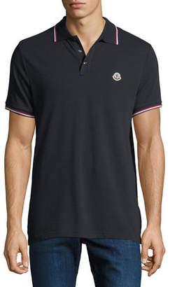 Moncler Men's Striped-Trim Polo Shirt